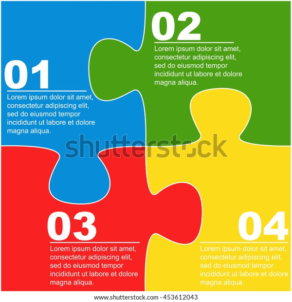 Jigsaw puzzle infographics,vector illustration.