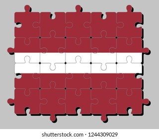Jigsaw puzzle of Latvia flag in a carmine field bisected by a narrow white stripe. Concept of Fulfillment or perfection.