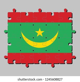 Jigsaw puzzle of Mauritania flag in two red stripes flanking a green field with a golden crescent and star. Concept of Fulfillment or perfection.