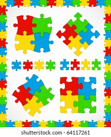Jigsaw puzzle multicolor pieces with frame useful set