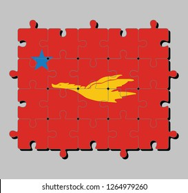 Jigsaw puzzle of New Mon State Party flag, Flag of the golden drake flying on red to star, Concept of Fulfillment or perfection.