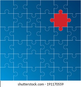 Jigsaw puzzle with one red piece missing