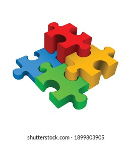 Jigsaw puzzle piece isolated on white background, 3d Vector illustration.