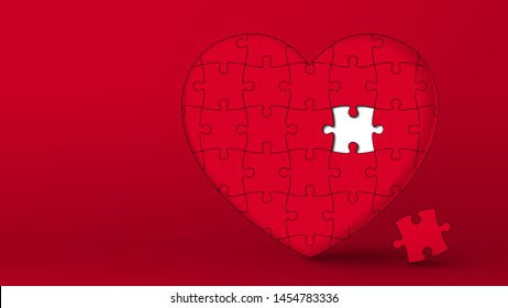 Jigsaw puzzle red heart with missing piece to fill it