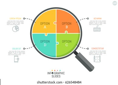 Jigsaw puzzle in shape of magnifying glass divided into 4 parts. Simple infographic design template. Problem analyzing and searching for answer concept. Vector illustration for presentation, report.