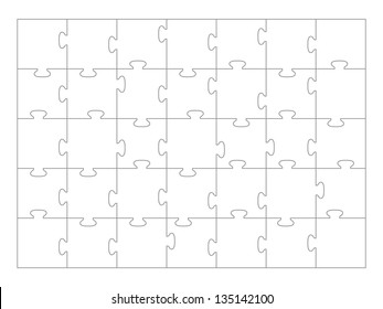 Jigsaw Puzzle template 35 pieces vector.