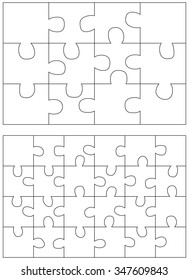 Jigsaw Puzzle Templates. Set of puzzle 12, 24