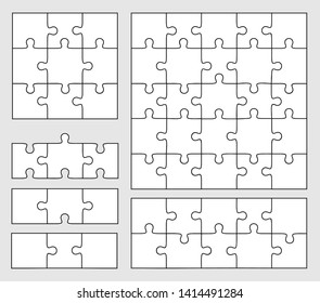 Jigsaw Puzzle Templates. Set of puzzle 3, 9, 10, 25,  pieces. Vector illustration of three white puzzles, separate parts