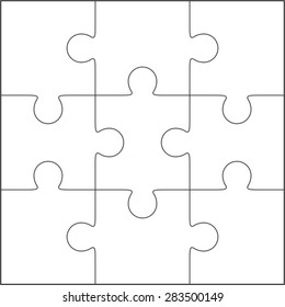 Jigsaw puzzle vector, blank simple template 3x3, nine pieces