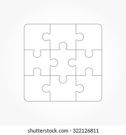 Jigsaw puzzle vector, blank simple template of nine pieces