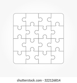 Jigsaw puzzle vector, blank simple template sixteen elements
