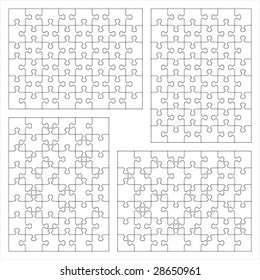 Jigsaw puzzle vector blank templates 6x8 and 8x6 of various cutting guidelines (48 pieces each) ( for high res JPEG or TIFF see image 28650964 )