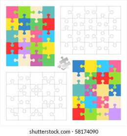Jigsaw puzzle vector blank templates and colorful patterns 20 pieces 4 x 5 and 5 x 4 ( for high res JPEG or TIFF see image 58174087 )