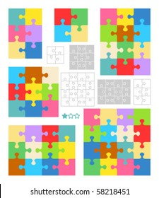 Jigsaw puzzle vector blank templates and colorful patterns ( for high res JPEG or TIFF see image  58218454 )