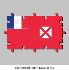 Jigsaw puzzle of Wallis and Futuna flag in red saltire on a white square, the flag of France in the upper. Concept of Fulfillment or perfection.