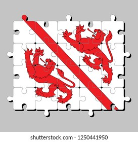 Jigsaw puzzle of Winterthur flag. The canton of Switzerland Confederation. Concept of Fulfillment or perfection.