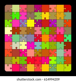 Jigsaw puzzle.Colorful vector illustration.