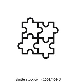 Jigsaw Puzzles Modern Simple Outline Vector Icon