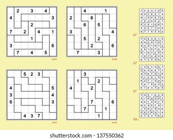 Jigsaw Sudoku with the 7 x 7 grid.  Vector set. Easy and moderate, symmetrical,  16, 14, 12, 10 clues.