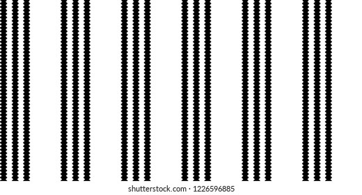 Jigsaw vertical stripes pattern vector. Graphic design three lines black on white background. Design print for textile, wallpaper, background, paper. Set 7