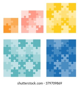 Jigsaws puzzle vector in various size