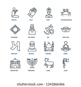 jihad, Lamb, Menorah, Monastery, Monk, Prayer, Paganism, nihilism, Om outline vector icons from 16 set