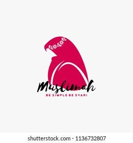 Jilbab muslimah logo design vector