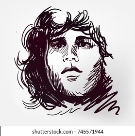 Jim Morrison rock star portrait vector illustration skettch style