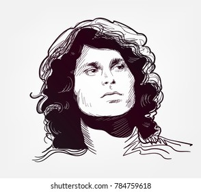 jim morrison vector sketch illustration sixties rock star