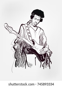 Jimi Hendrix american singer guitar player black vector illustration sketch style