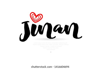 Jinan city text with red love heart design for typographic icon design suitable for touristic promotion