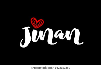 Jinan city text with red love heart design on black background for typographic logo icon design