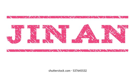 Jinan watermark stamp. Text caption between horizontal parallel lines with grunge design style. Rubber seal stamp with dirty texture. Vector pink color ink imprint on a white background.