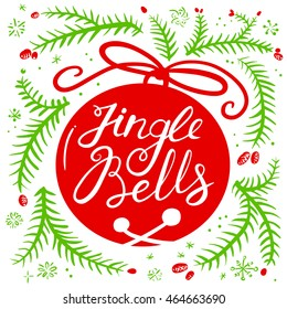 Jingle all the way calligraphic hand drawn lettering. Christmas and New Year background with silhouette of pine tree branches and bell with bow. Design element for seasonal posters and greeting cards
