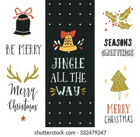 Jingle all the way. Hand drawn Christmas holiday collection with lettering and decoration elements for greeting cards, stationary, gift tags, scrapbooking, invitations.