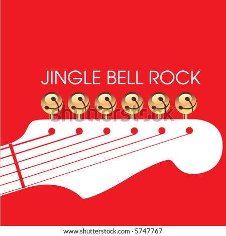 jingle bell rock is depicted with jingle bells as tuners on a guitar headstock in this