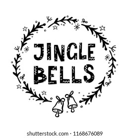 Jingle Bells greeting card. with hand lettering
