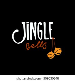 Jingle bells hand drawn design elements, retro design. Modern calligraphy and brush lettering
