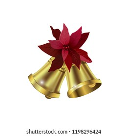 Jingle bells with poinsettia bow on a white background. Vector illustration