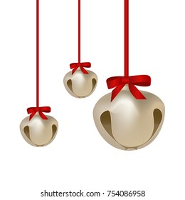Jingle bells with red bow on a white background. Vector illustration