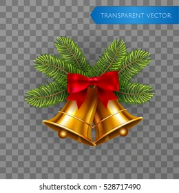 Jingle bells, winter gold vector bell with red bow and fir tree branches on transparent background. Merry christmas and happy new year greeting christmas decoration element template