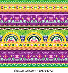 Jingle trucks pattern, Pakistani truck art seamless vector design, Indian vivid truck floral ornament with flowers abstract shapes. Colorful repetitive Diwali background