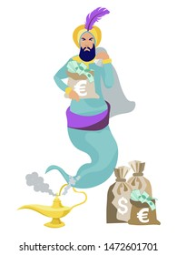 Jinn flies out of the lamp, in the hands of wealth, money, dollars. In minimalist style. Cartoon flat vector Illustration