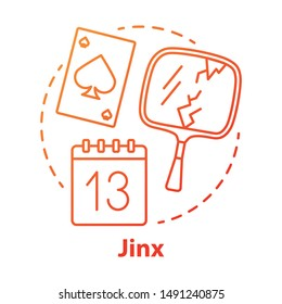 Jinx concept icon. Magic and superstition idea thin line illustration. Bad luck, misfortune omen, paranormal curse. Broken mirror, friday 13th and spades card vector isolated outline drawing