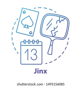 Jinx concept icon. Magic and superstition idea thin line illustration. Bad luck, misfortune omen, mystic curse. Broken mirror, friday 13th and spades card vector isolated outline drawing