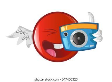 Jio Emoji clicking photo. vector Illustration. Isolated on white background.