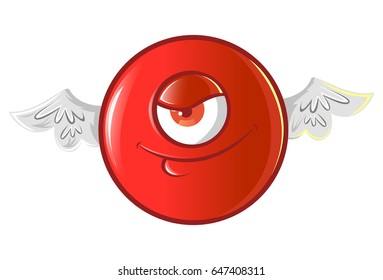 Jio Emoji with  a devil smile. vector Illustration. Isolated on white background.