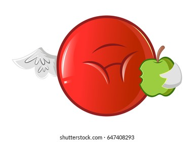 Jio Emoji eating an apple. vector Illustration. Isolated on white background.