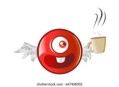 Jio Emoji having Tea. vector Illustration. Isolated on white background.