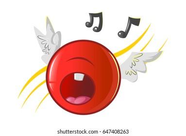 Jio Emoji Singing aloud. vector Illustration. Isolated on white background.